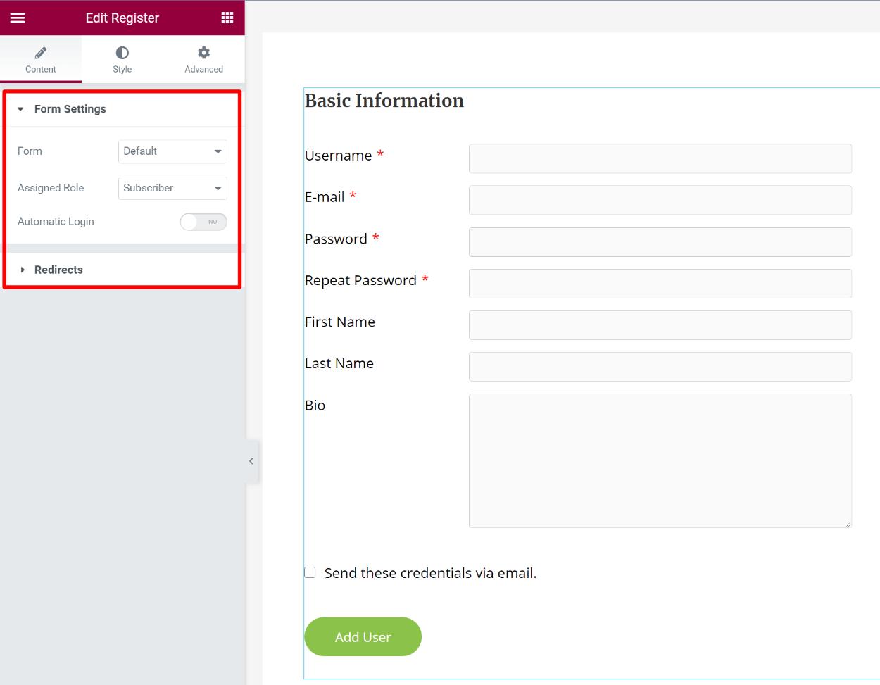 Customizing the Elementor register form widget