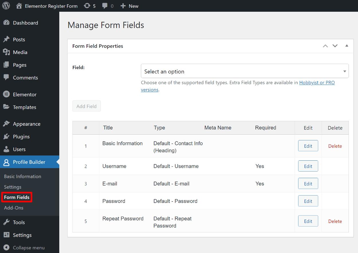 Edit form fields