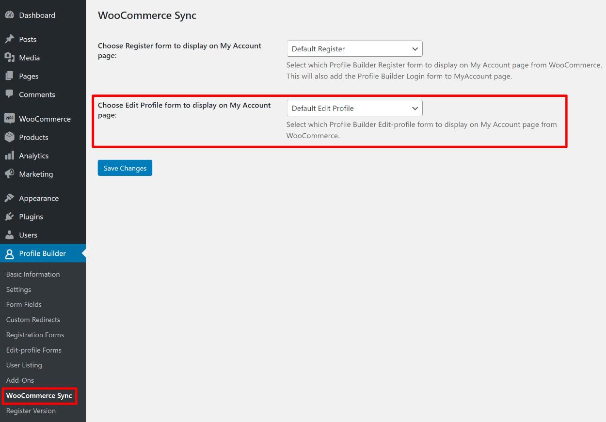 Adding the edit profile form