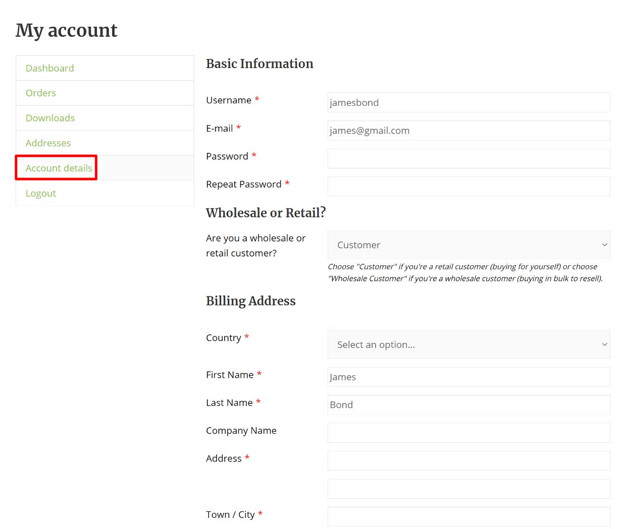 Custom WooCommerce edit profile form