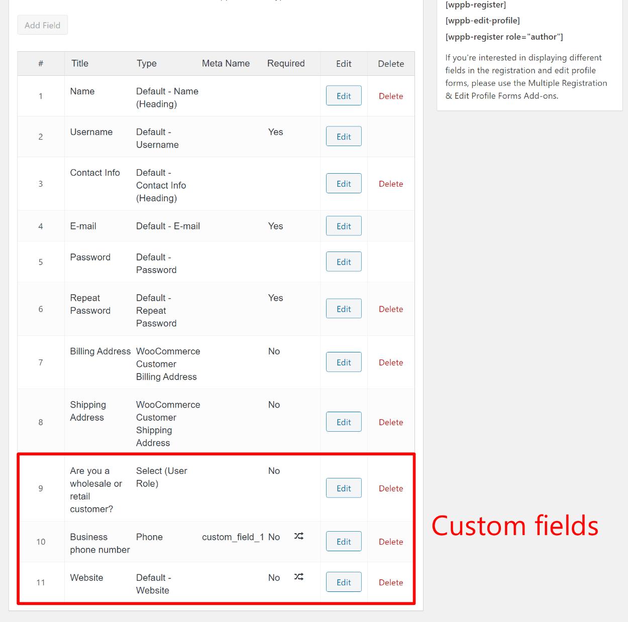 Custom fields example