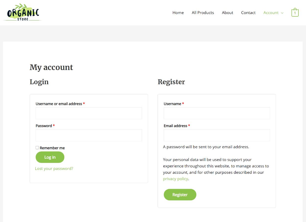 default WooCommerce registration