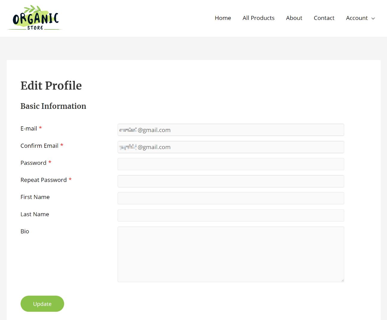 WordPress edit profile form
