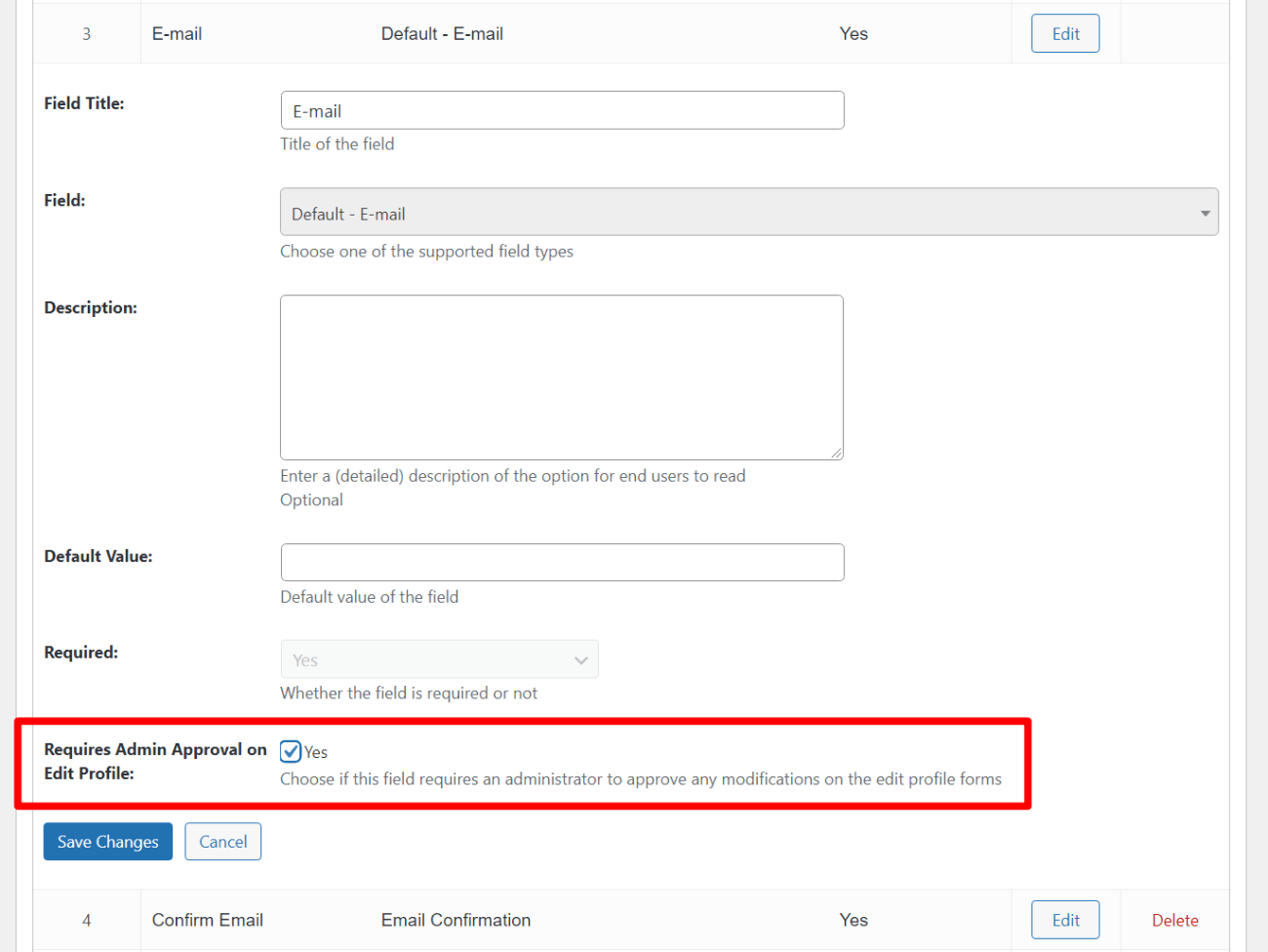 Require admin approval for edit profile