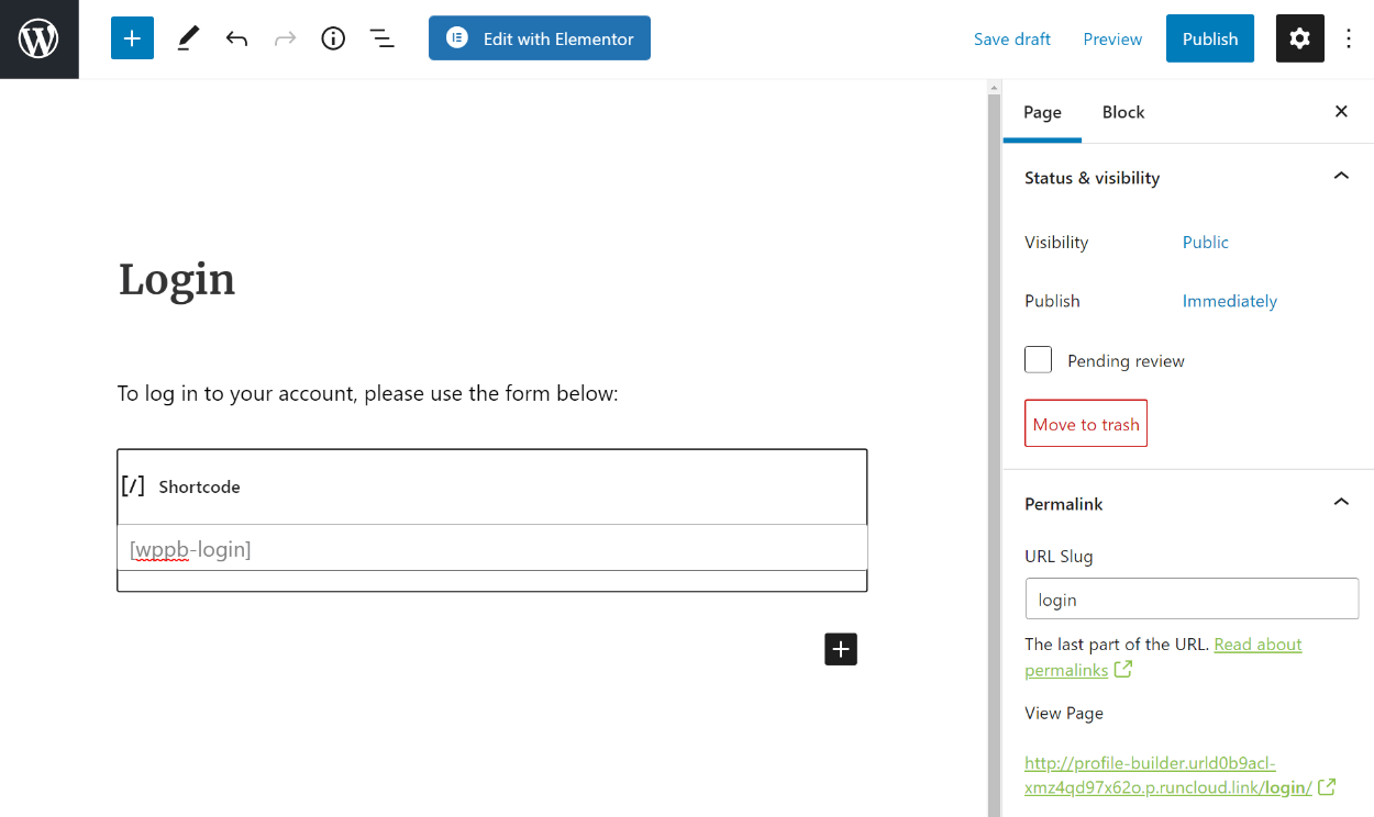 WooCommerce login shortcode in block editor