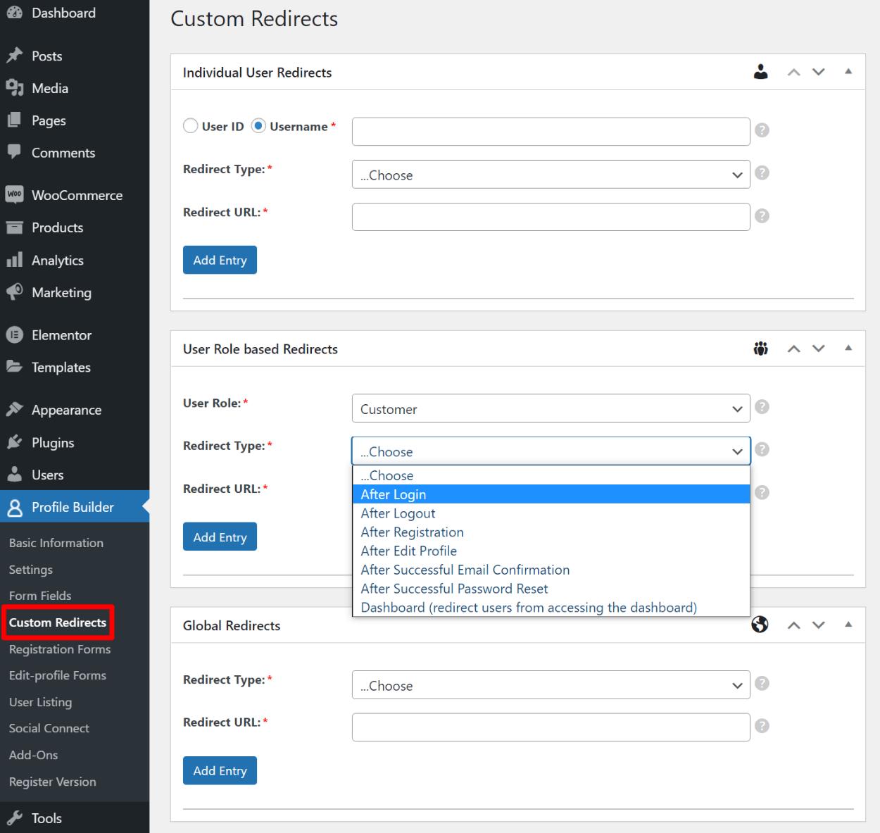 Custom WooCommerce login page redirect rules