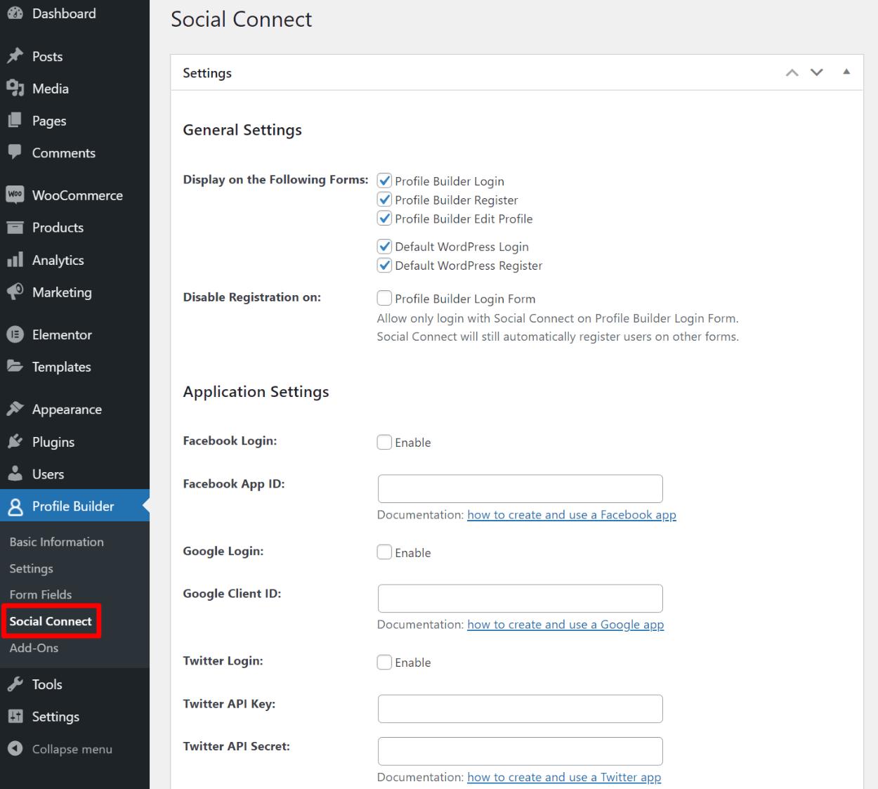 WooCommerce social login settings