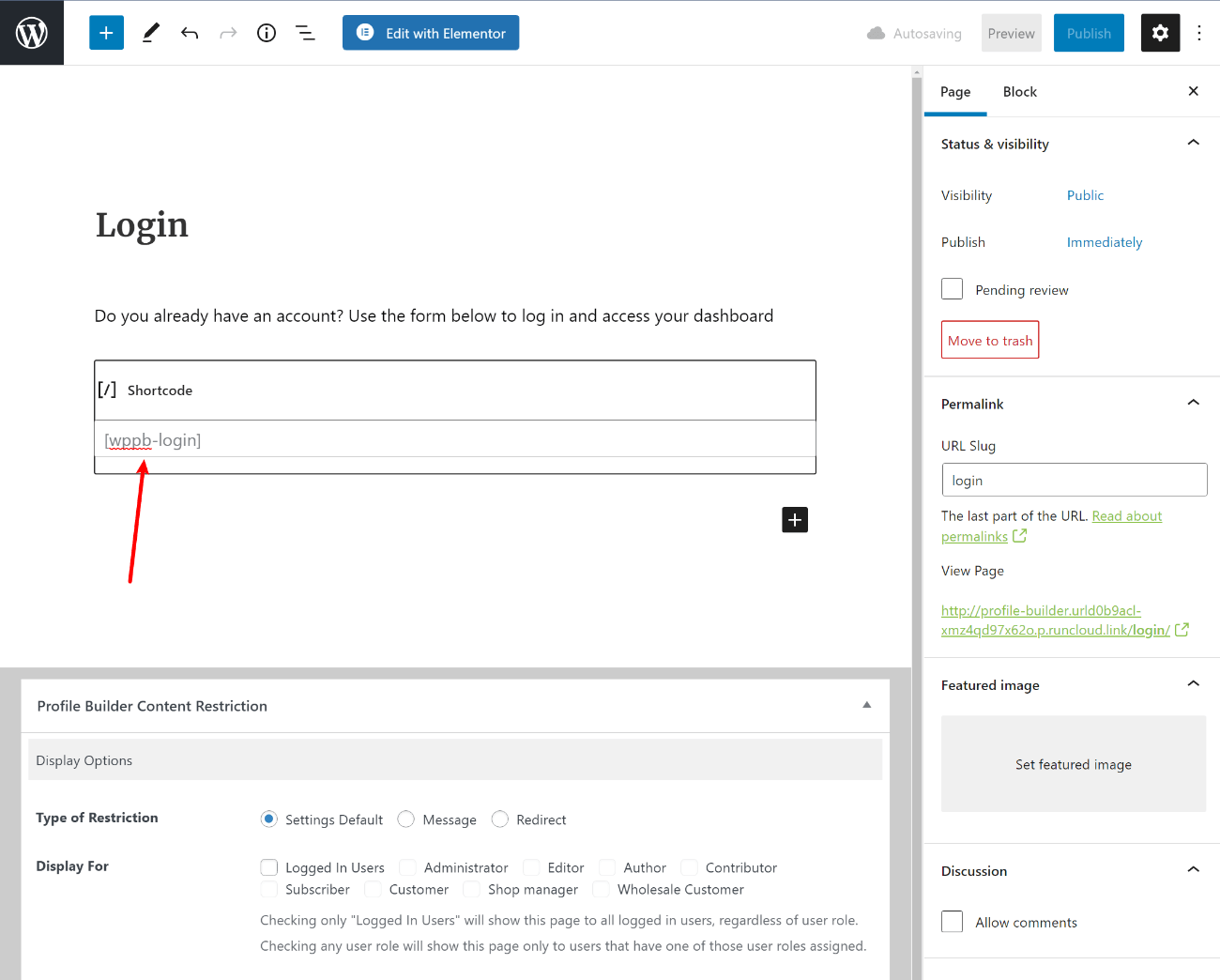 Adding login shortcode