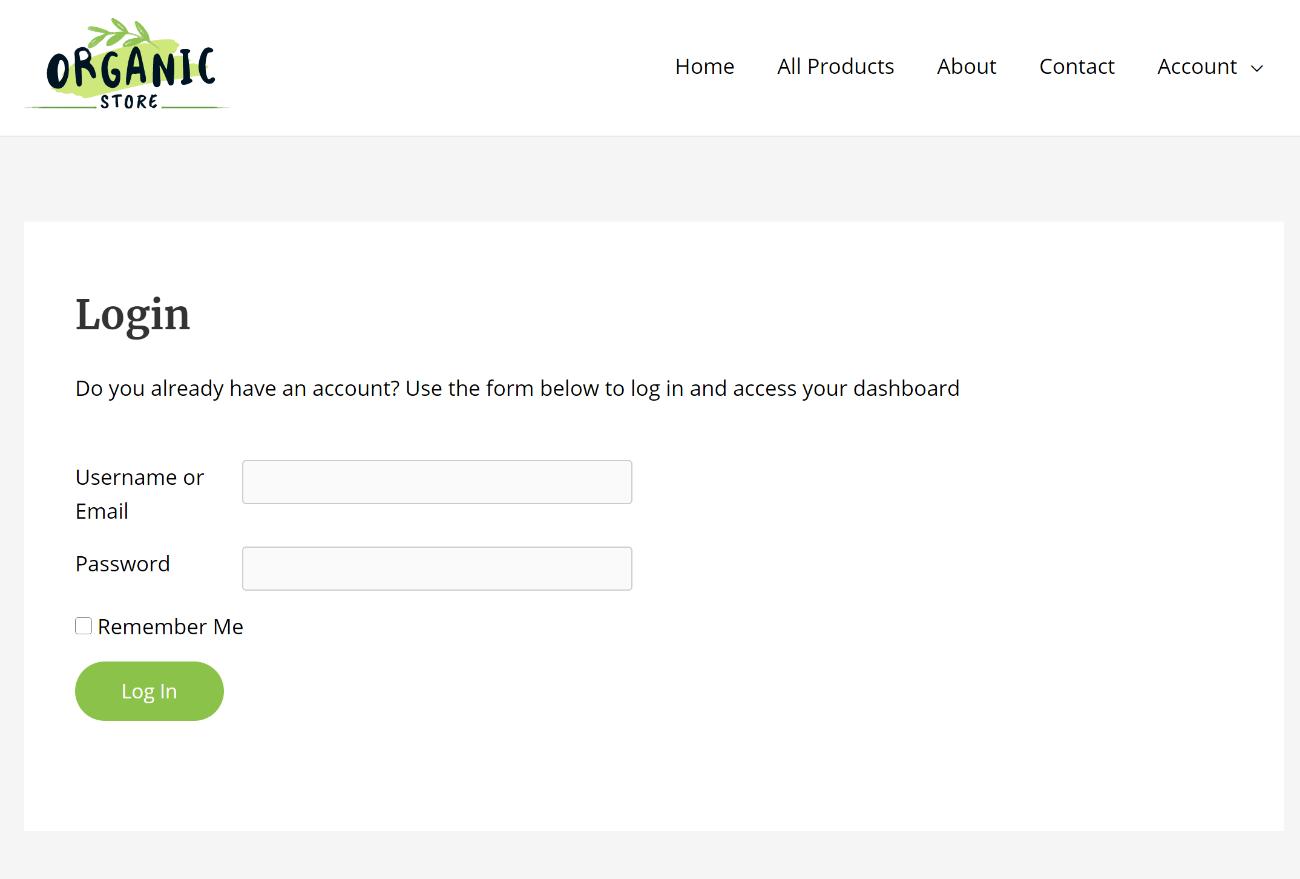 WordPress email login form