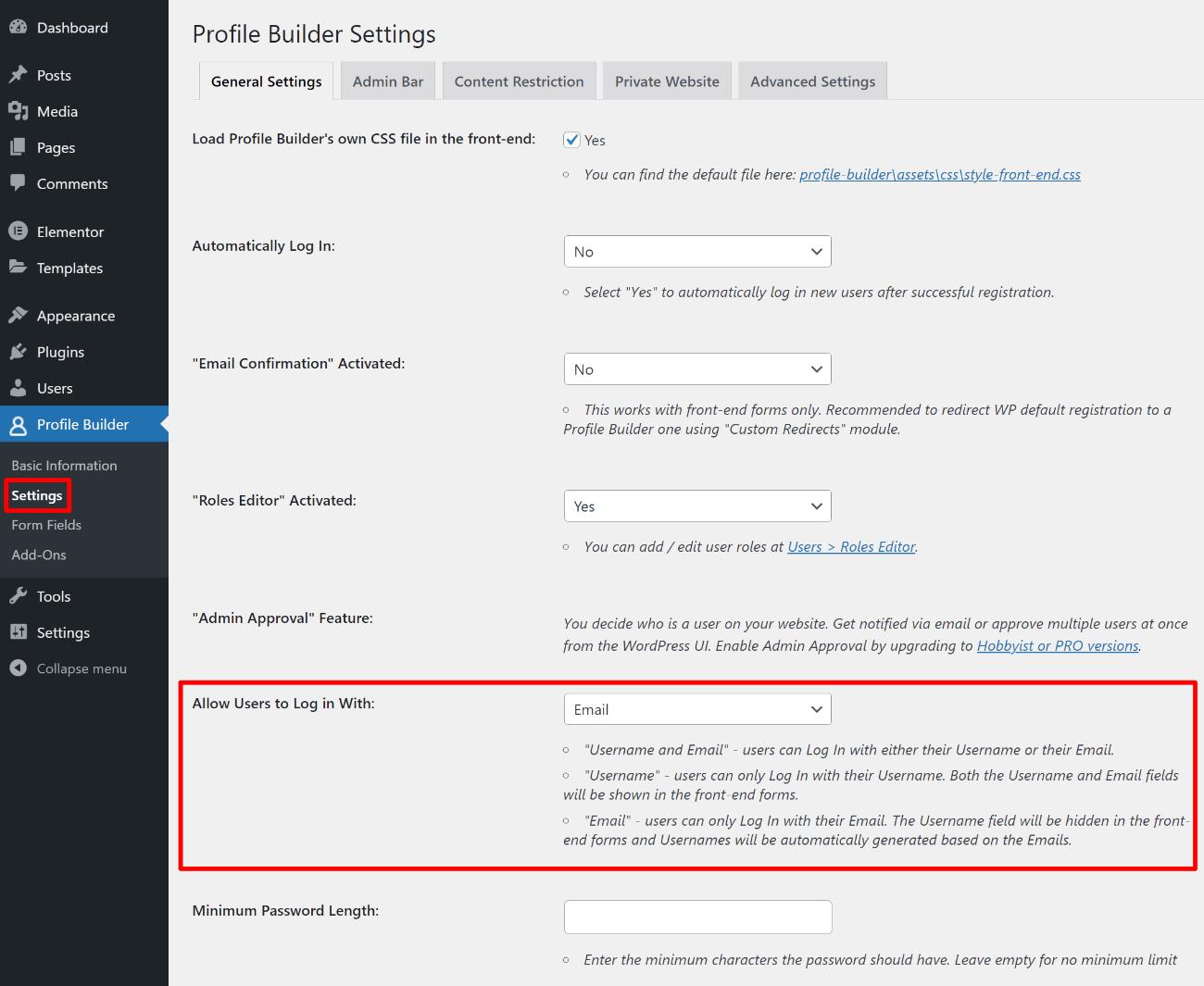 Force WordPress email login