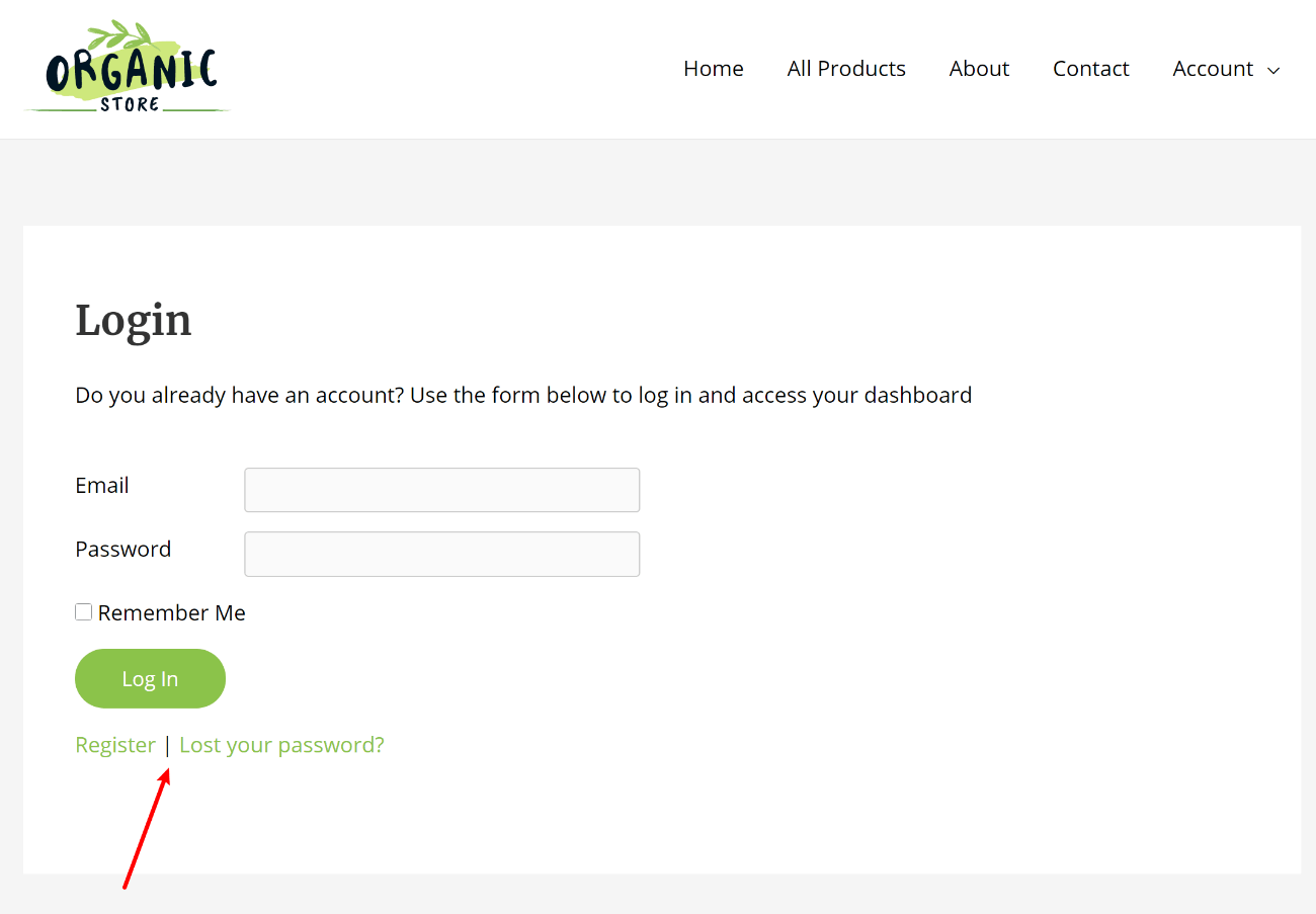 Register and lost password fields