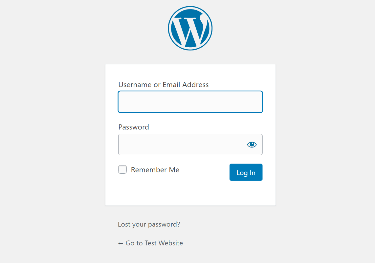 Regular WordPress email login field