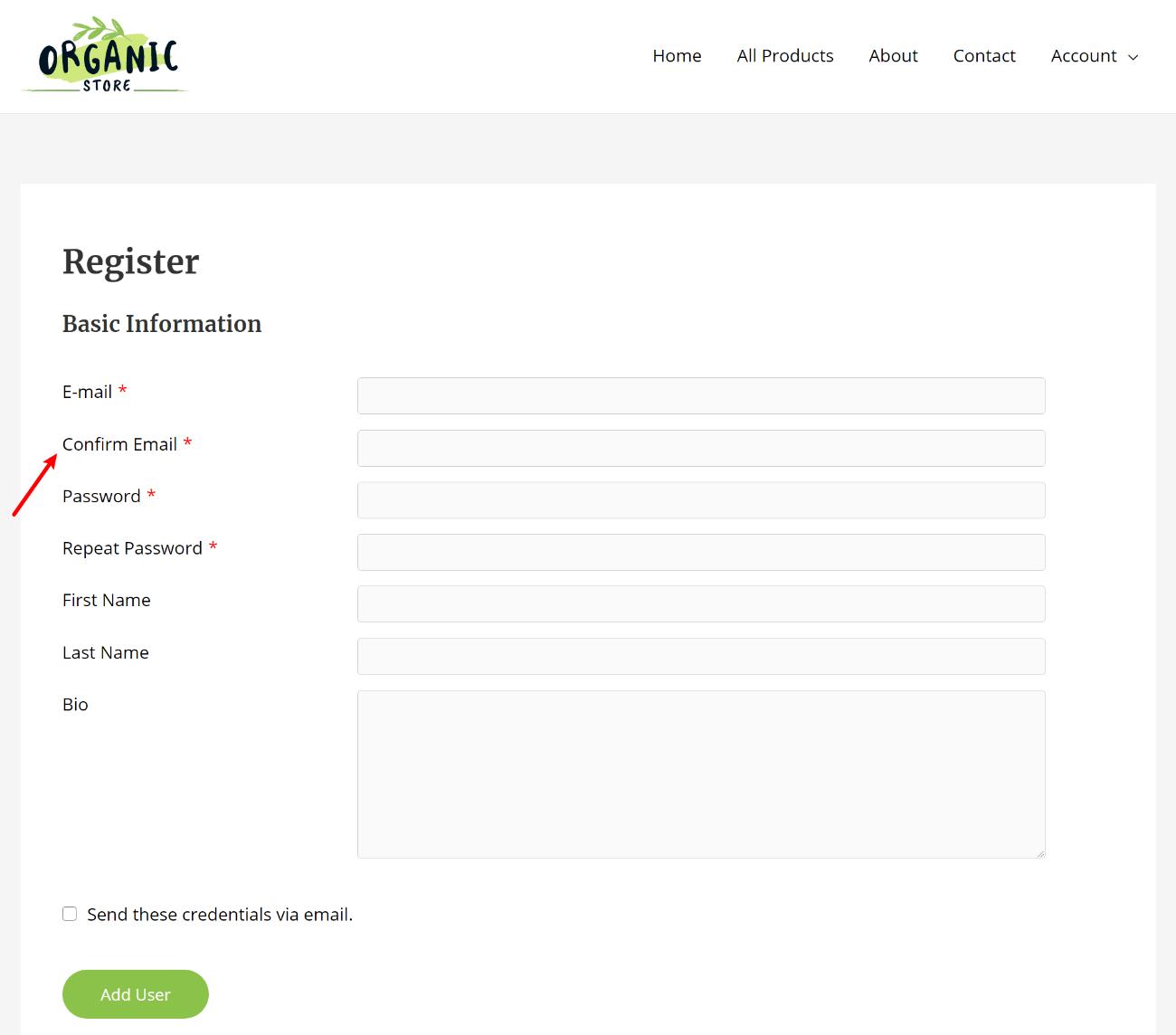 Example WordPress register form