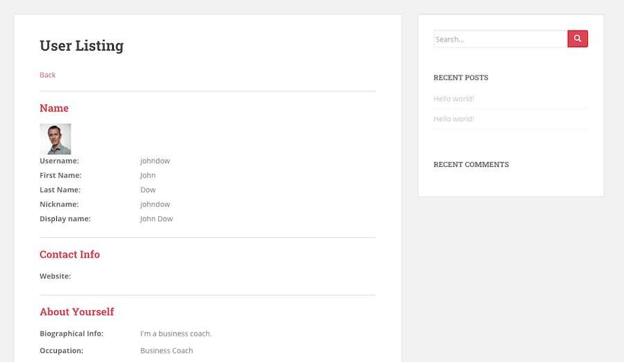 member directory single profile