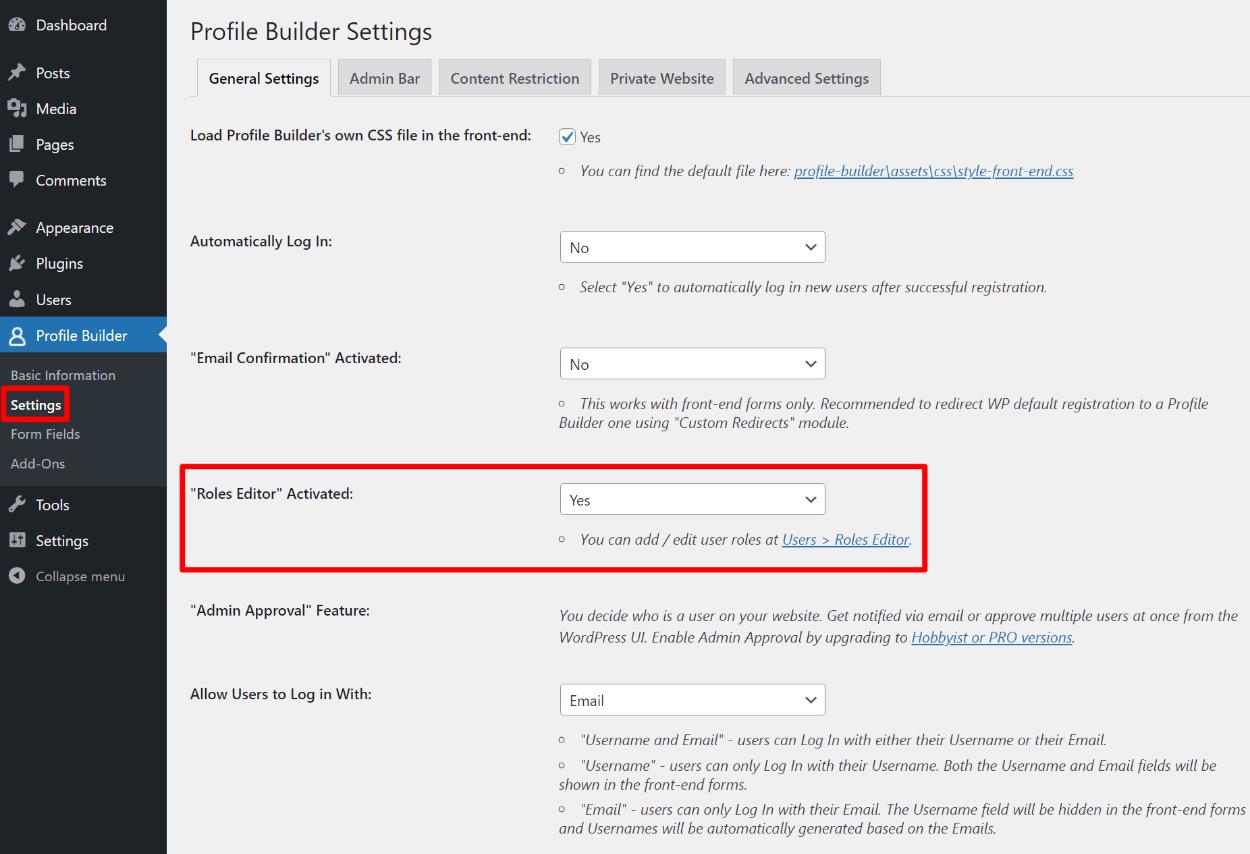 Activate WordPress user roles plugin feature