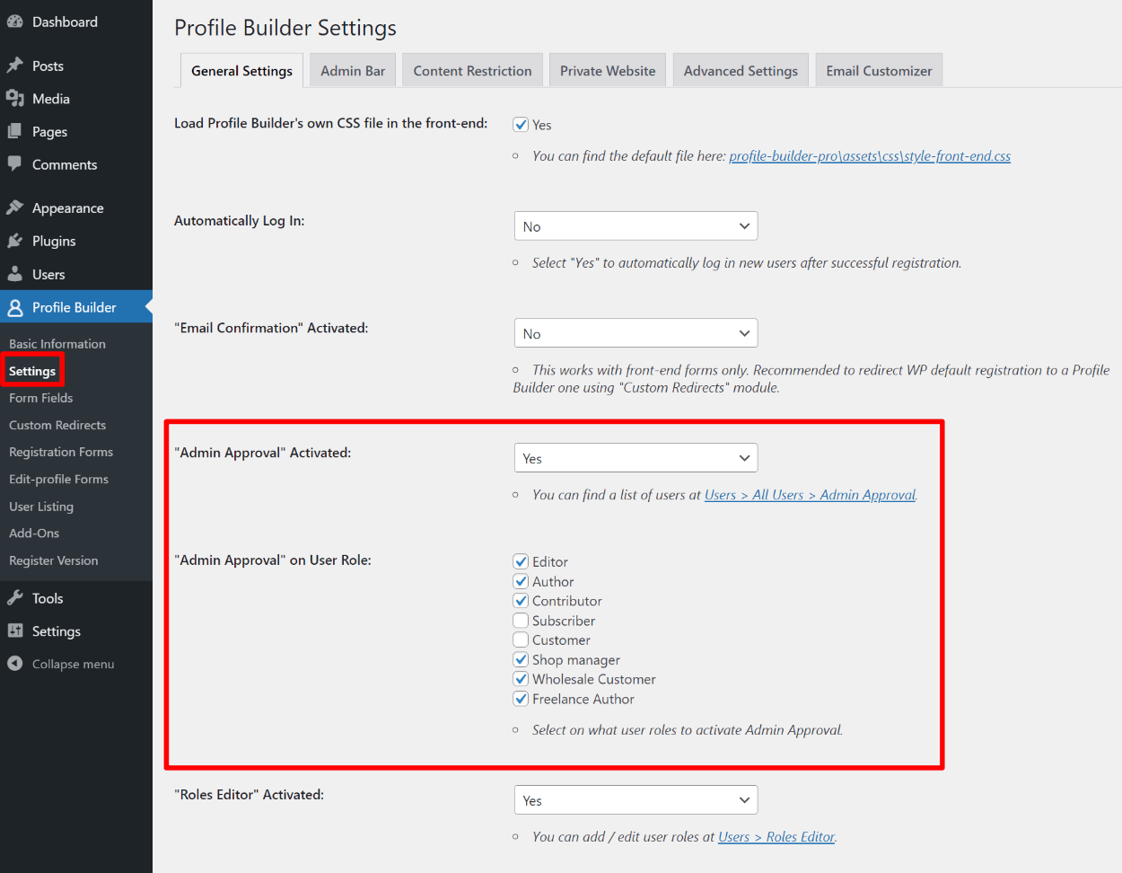 Choosing user roles on edit profile