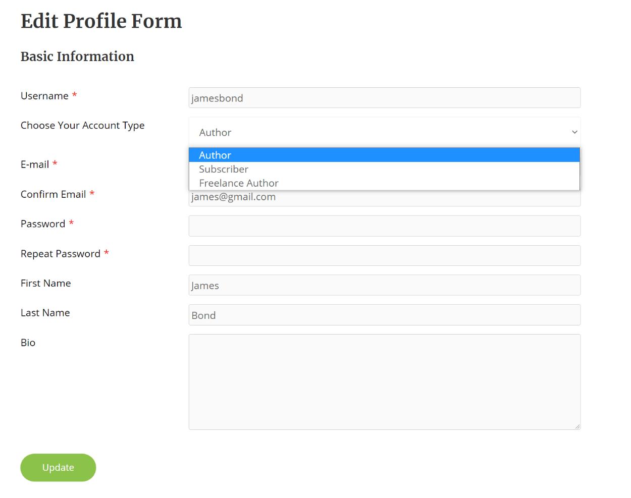 Edit profile forms