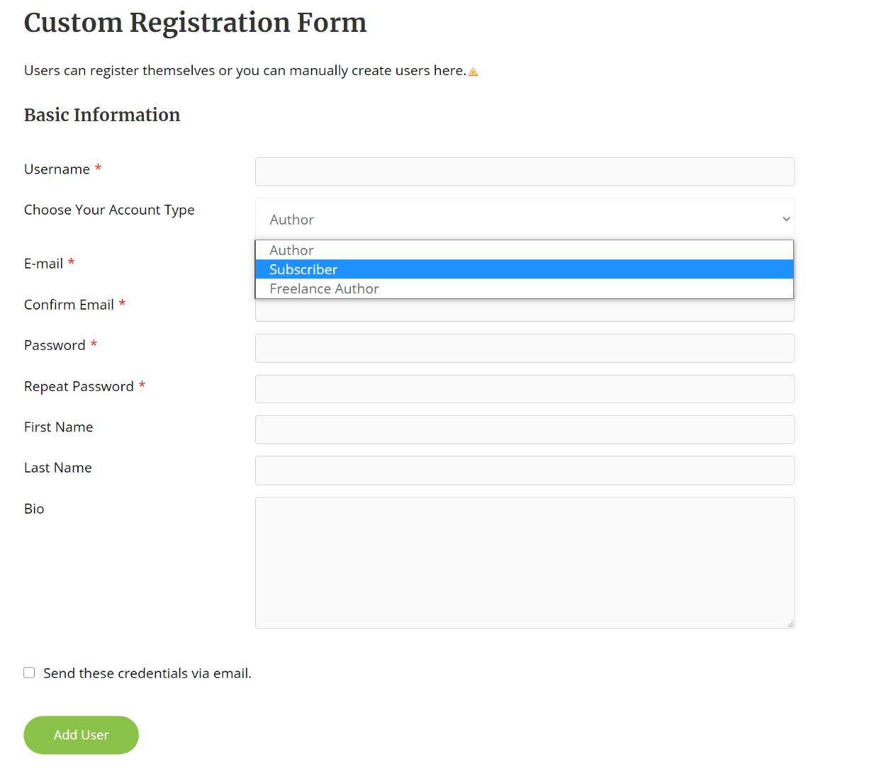 Front-end registration form
