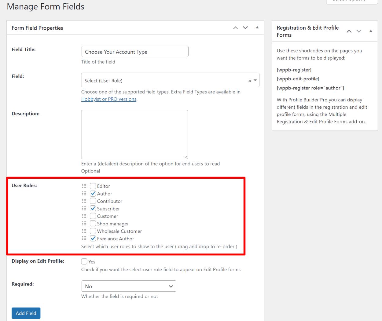 WordPress user roles plugin for registration