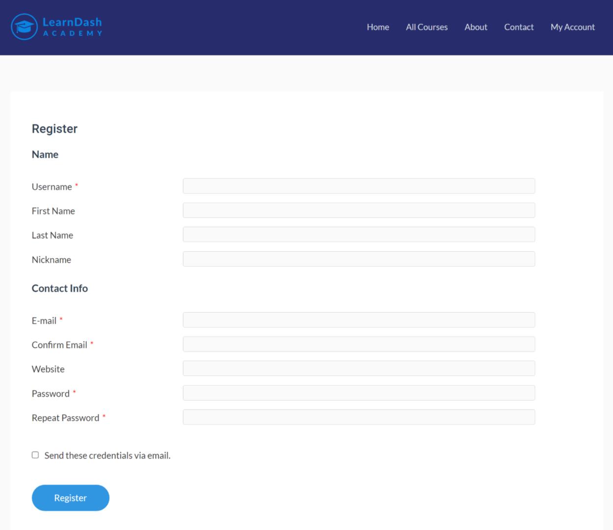 Custom registration form on front-end