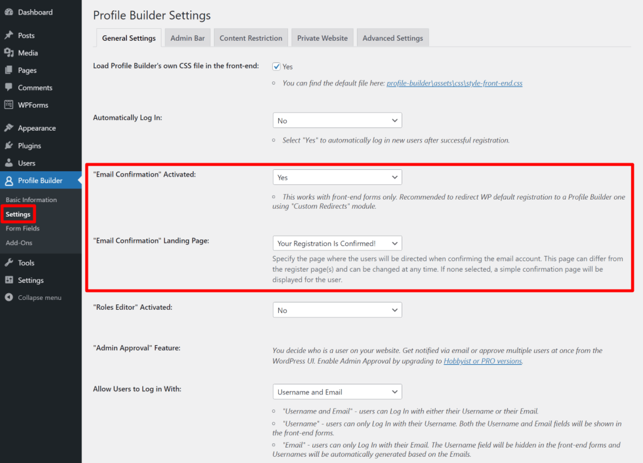 Enable WordPress email confirmation for new users