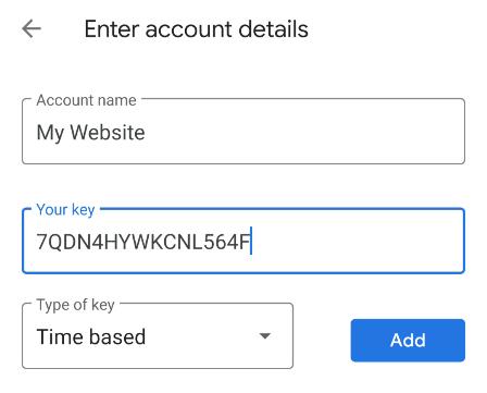 Google Authenticaticator Manual Entry