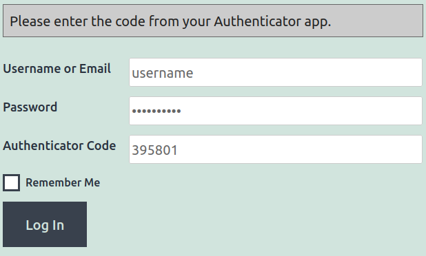 Two-Factor Authentication Login Notice