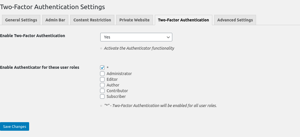Two-Factor Authentication Settings Tab
