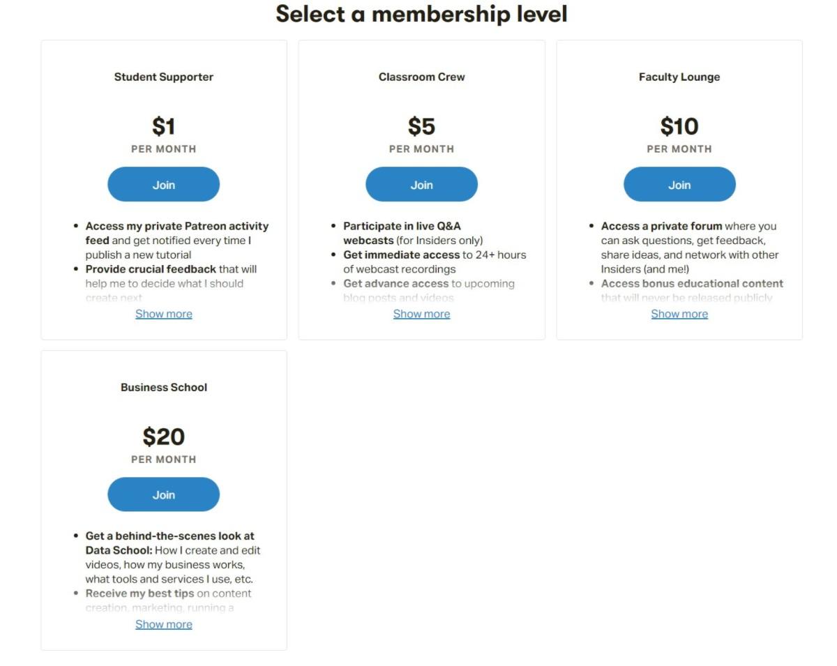 Patreon Data School subscription tiers