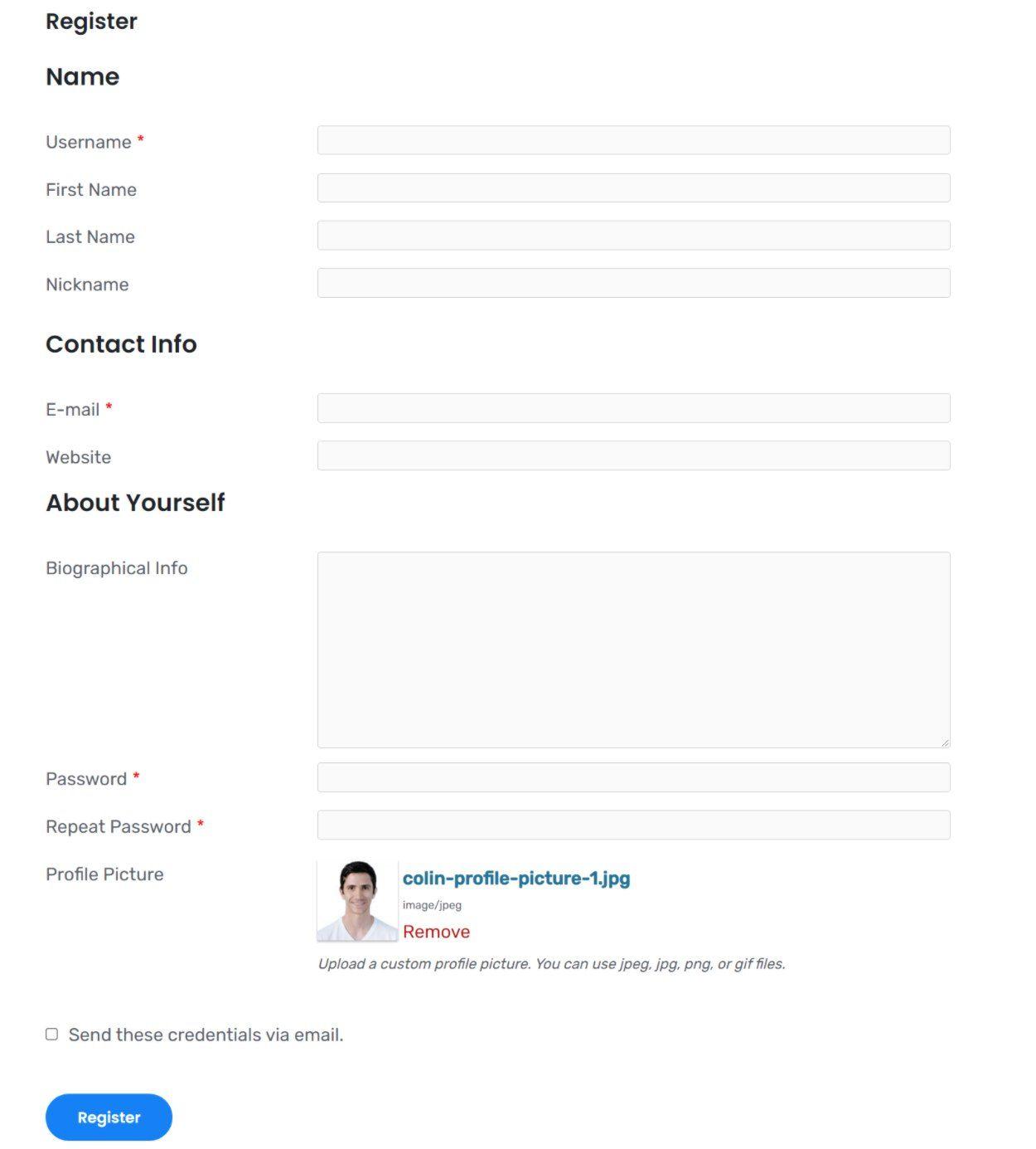WordPress user avatar field on registration form