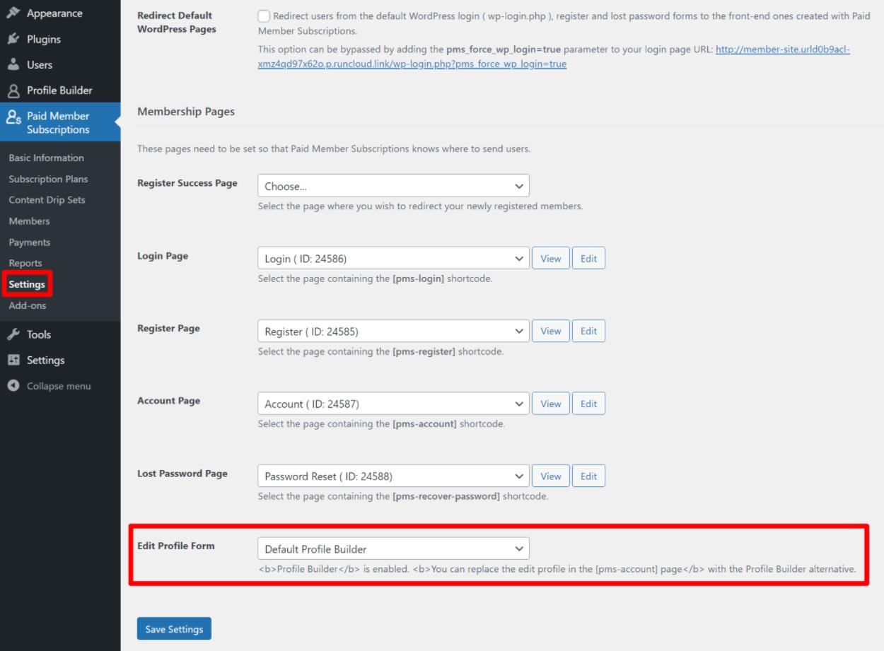 Choose edit profile form