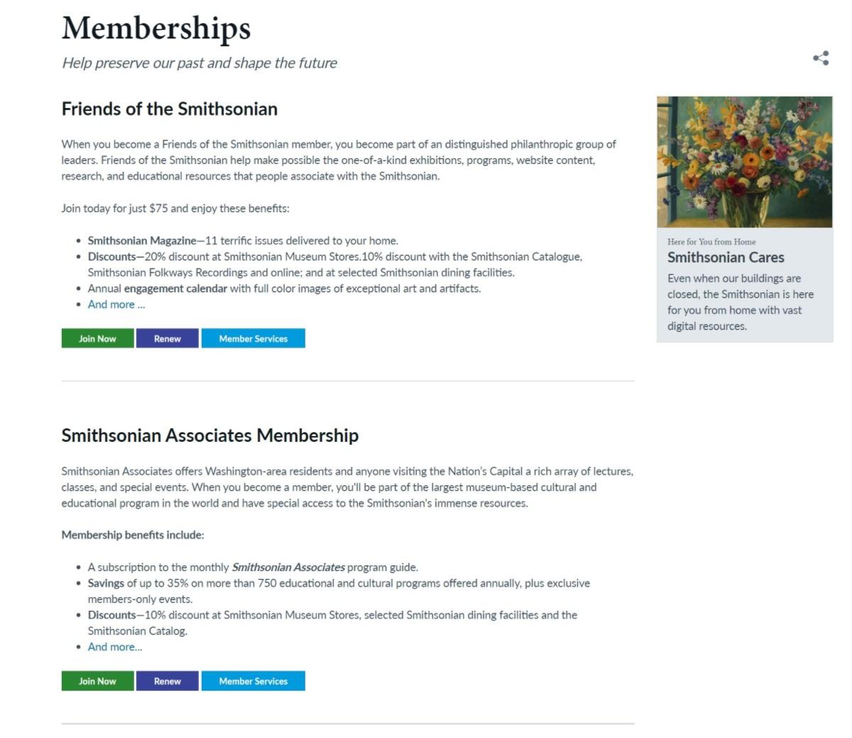 Smithsonian membership levels