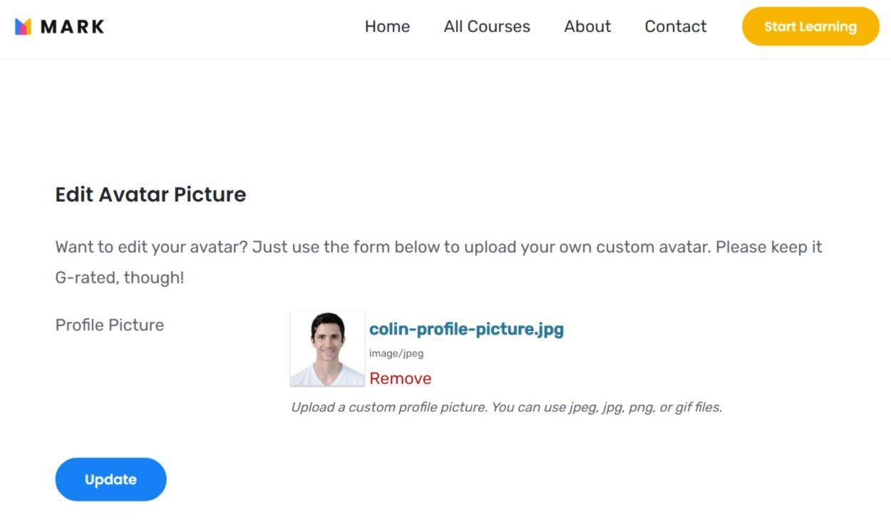 Dedicated WordPress user avatar upload field