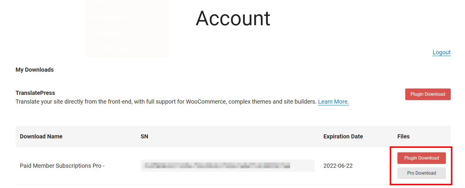 Downloading the Plugin from the Account Page