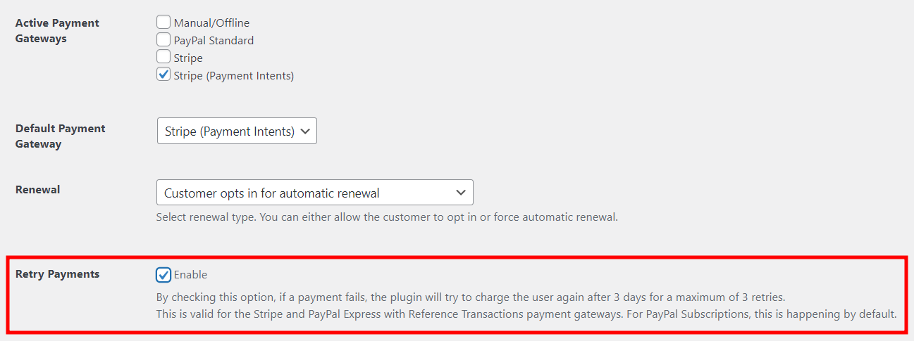 Enabling Retry Payment Option